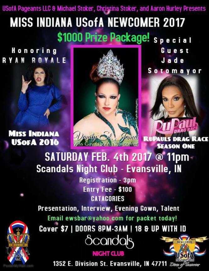 Show Ad | Miss Gay Indiana USofA Newcomer | Scandals (Evansville, Indiana) | 2/4/2017
