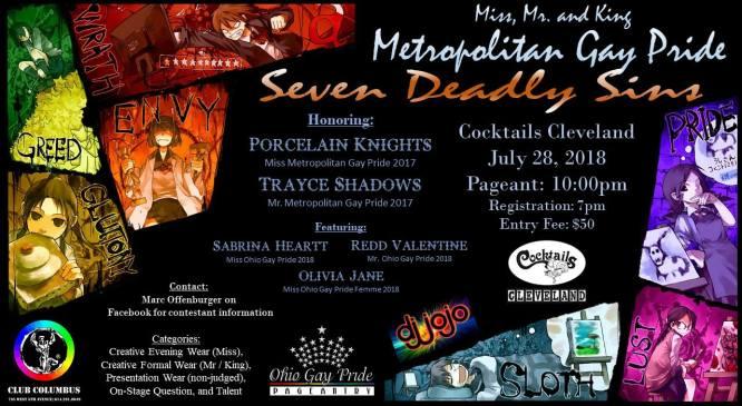 Show Ad   Miss Metropolitan Gay Pride, Mr. Metropolitan Gay Pride and Mr. Metropolitan Gay Pride King   Cocktails (Cleveland, Ohio)   7/28/2018
