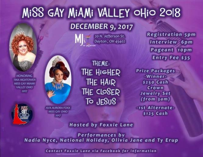 Show Ad | Miss Gay Miami Valley Ohio | MJ's on Jefferson (Dayton, Ohio) | 12/9/2017