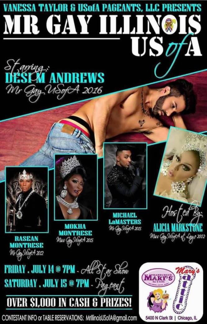 Show Ad | Mr. Gay Illinois USofA | Hamburger Mary's and Mary's Attic (Chicago, Illinois) | 7/14-7/15/2017