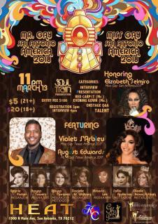 Show Ad | Mr. Gay San Antonio America and Miss Gay San Antonio America | Heat (San Antonio, Texas) | 3/13/2018