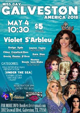 Show Ad   Miss Gay Galveston America   Rumors (Galveston, Texas)   5/4/2018