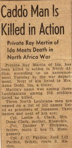 Ray Martin's Notice of Death