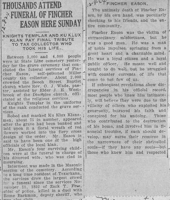 Fincher Eason Thousands Attend Funeral 12-8-1924