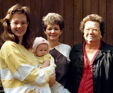 Kelly and Rachel  Brown, Kookie Stanley Hemperley and Mamie Stanley-4 generations