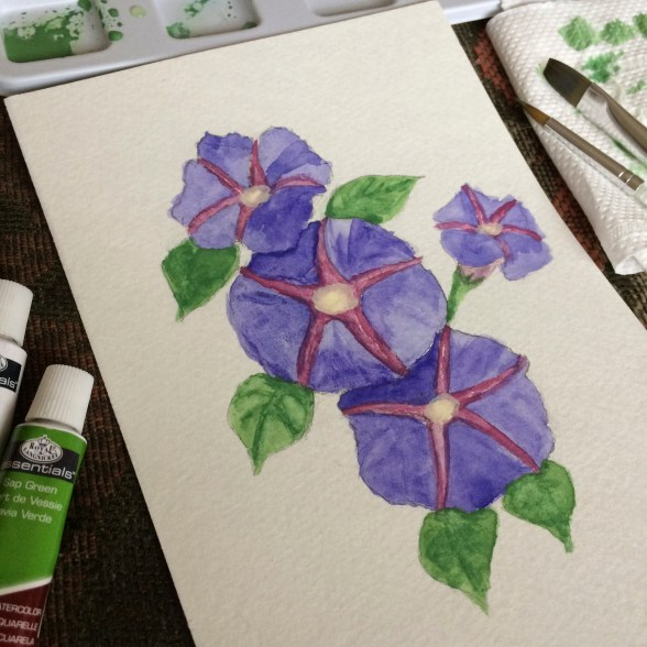 My very first water-colour project that looked like starfishes crawling on purple petals.