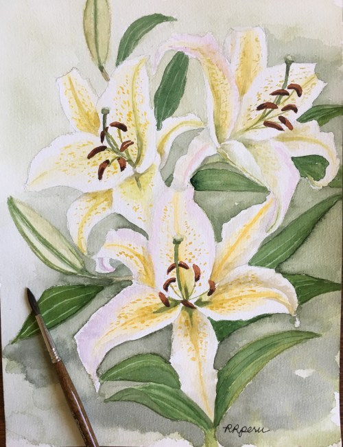 "My watercolor painting of white lilies on 9"" x 12"" 100% cotton wc paper."