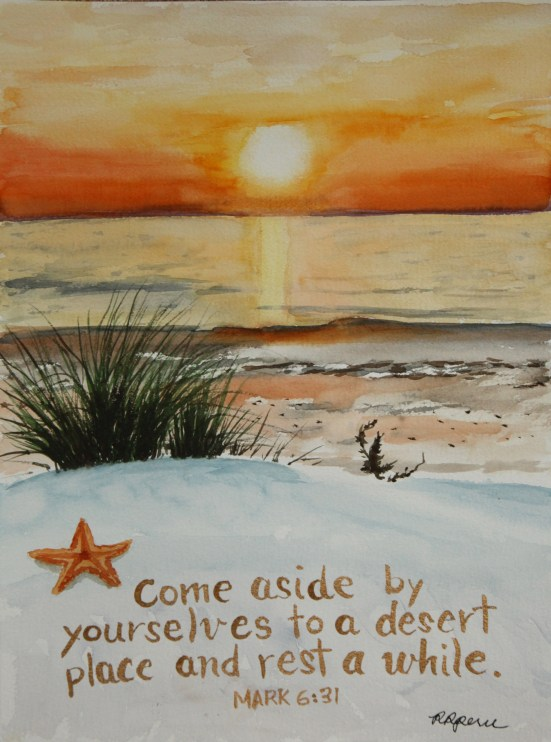 "My watercolor painting of a deserted beach at sunset on 9"" x 12"" 140lb, cotton wc paper. (Reference photo from total-embodiment.tumblr.com"