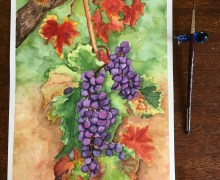 """""""GRAPEVINE"""". My watercolor painting on 9"""" x 12"""" wc paper."""