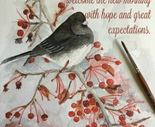 """WINTER. My watercolor painting of a bird and dried up cherries in winter on 9"""" x 12"""" wc paper. (Reference photo by Betty Wiley on Flickr via Pinterest)."""