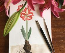 My painting is buried under the huge petals of the lilies, but... you get the message :) .