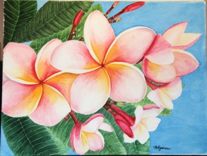 "PLUMERIA AND A PIECE OF BLUE on 12"" x 16"""