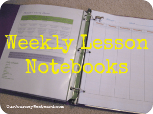 Weekly Lesson Notebooks | Our Journey Westward