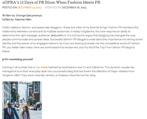 uOPRA, fashion PR, fashion bloggers, top fashion bloggers