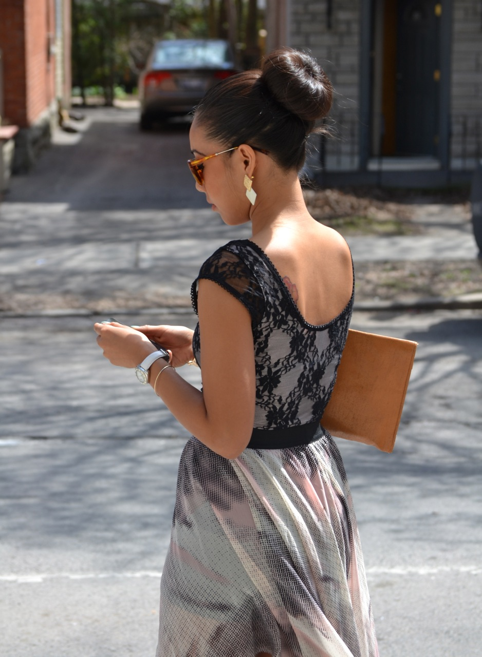 asian hair sock bun, low back lace top, wild soul sunglasses, geometric earrings