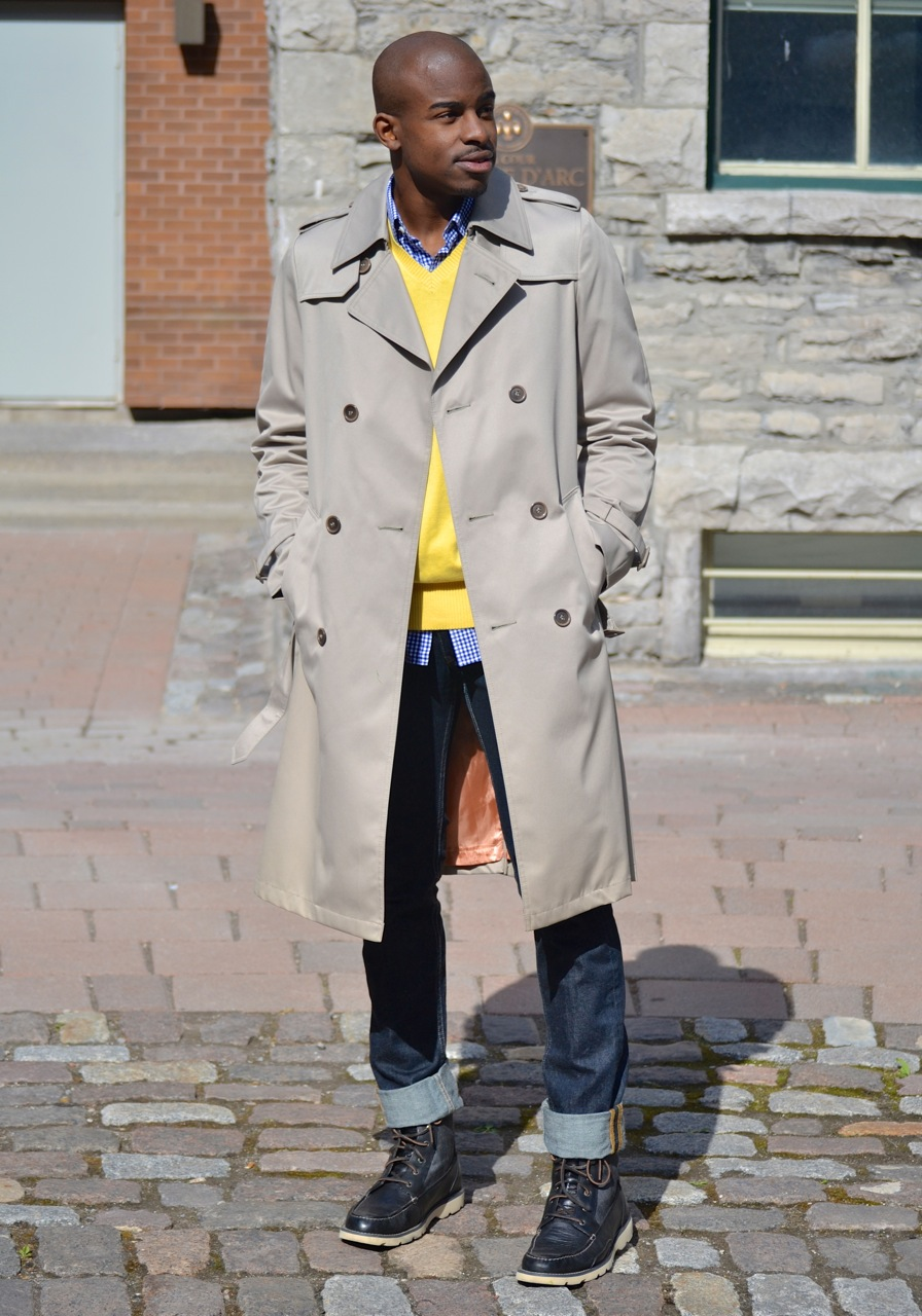 mens trench coat, handsome black guy, ottawa fashion, yellow v neck sweater, sperry's boots, black male model