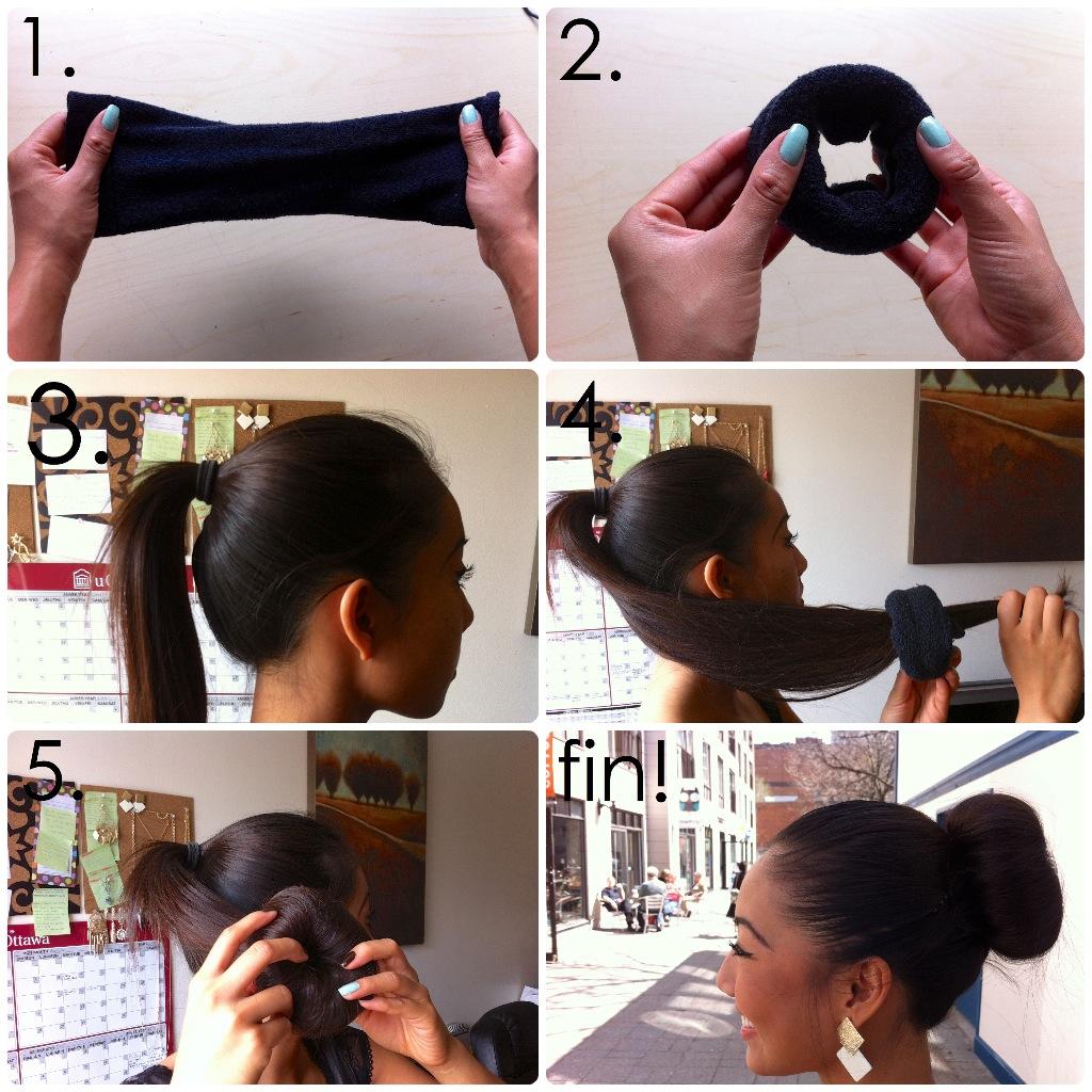 sock bun guide, fast sock bun tutorial, sock bun diagram, sock bun