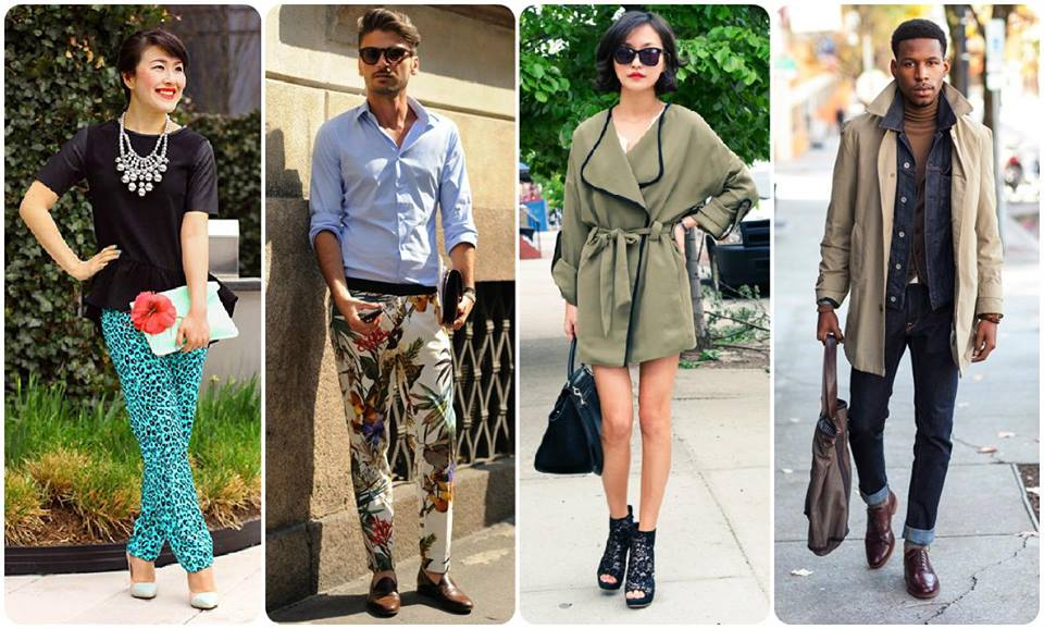 fashion collage, fashionable people, street style