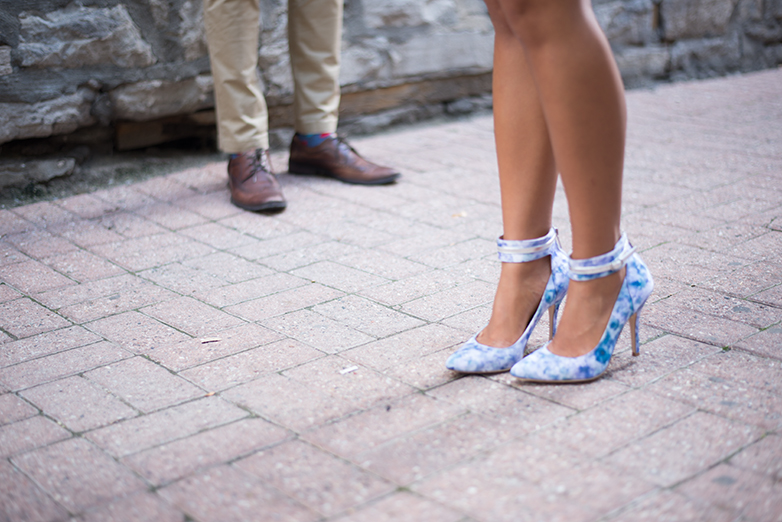 couples shoes, blue floral heels, strappy blue heels, strappy floral heels, le chateau, pegabo, mens brown wingtips