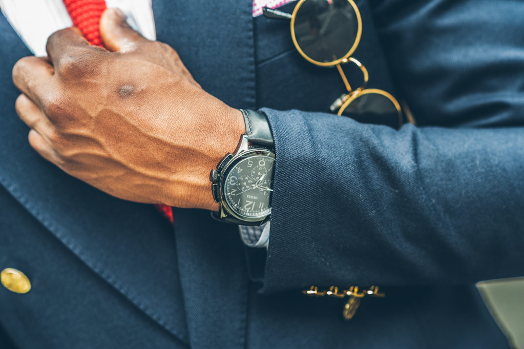 double breasted blazer, handsome black man, black male model, horn rimmed glasses, black guess watch, mens details, round sunglasses, sartorial, ottawa fashion, gritty photography