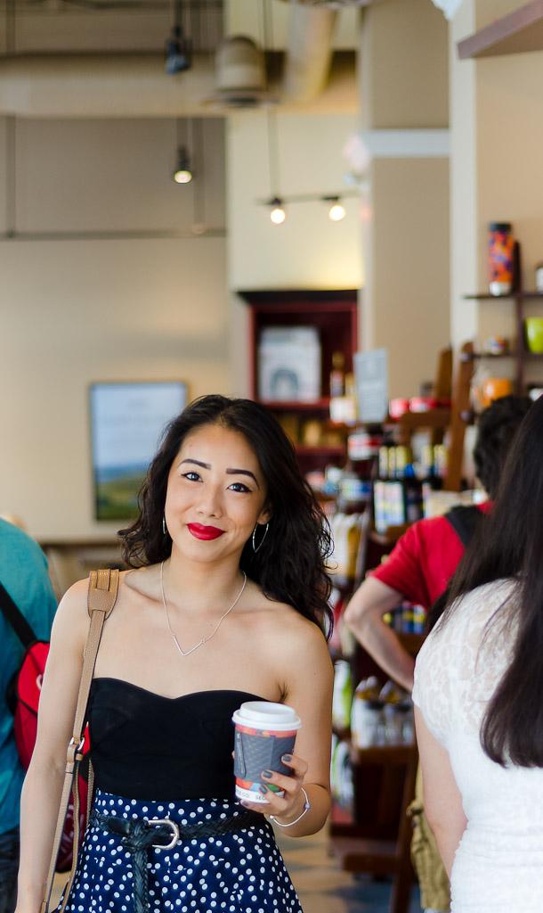 vintage streetstyle, vintage skirt, polka dot skirt, red lipstick, strut jewelry, ottawa fashion, ottawa blogger, asian streetstyle, summer fashion, midi skirt