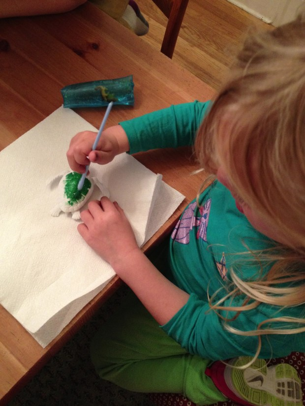 Painting her sea turtle