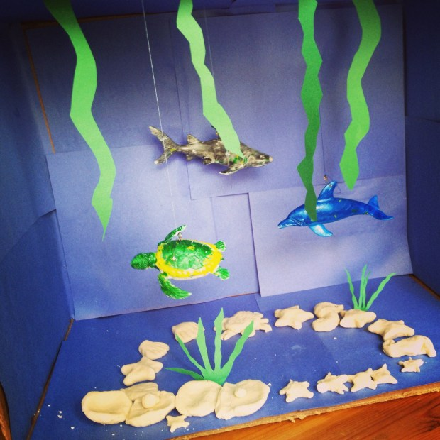 We made sea creatures out of homemade play dough- super easy once you do it. (1 cup four, 1/4 cup salt. Mix it together and add 1/4 cup water)