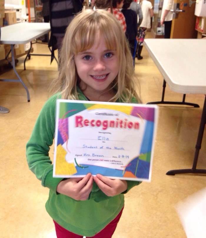 She was awarded Student of the Month for February!
