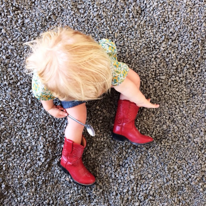 Those were Ella's boots. I bought them when she was just about 2 in Utah while taking care of my mom during her first round of chemo. I had given them away to a friend for her daughter. I am so glad they found their way back to me so Phoebe could wear them.