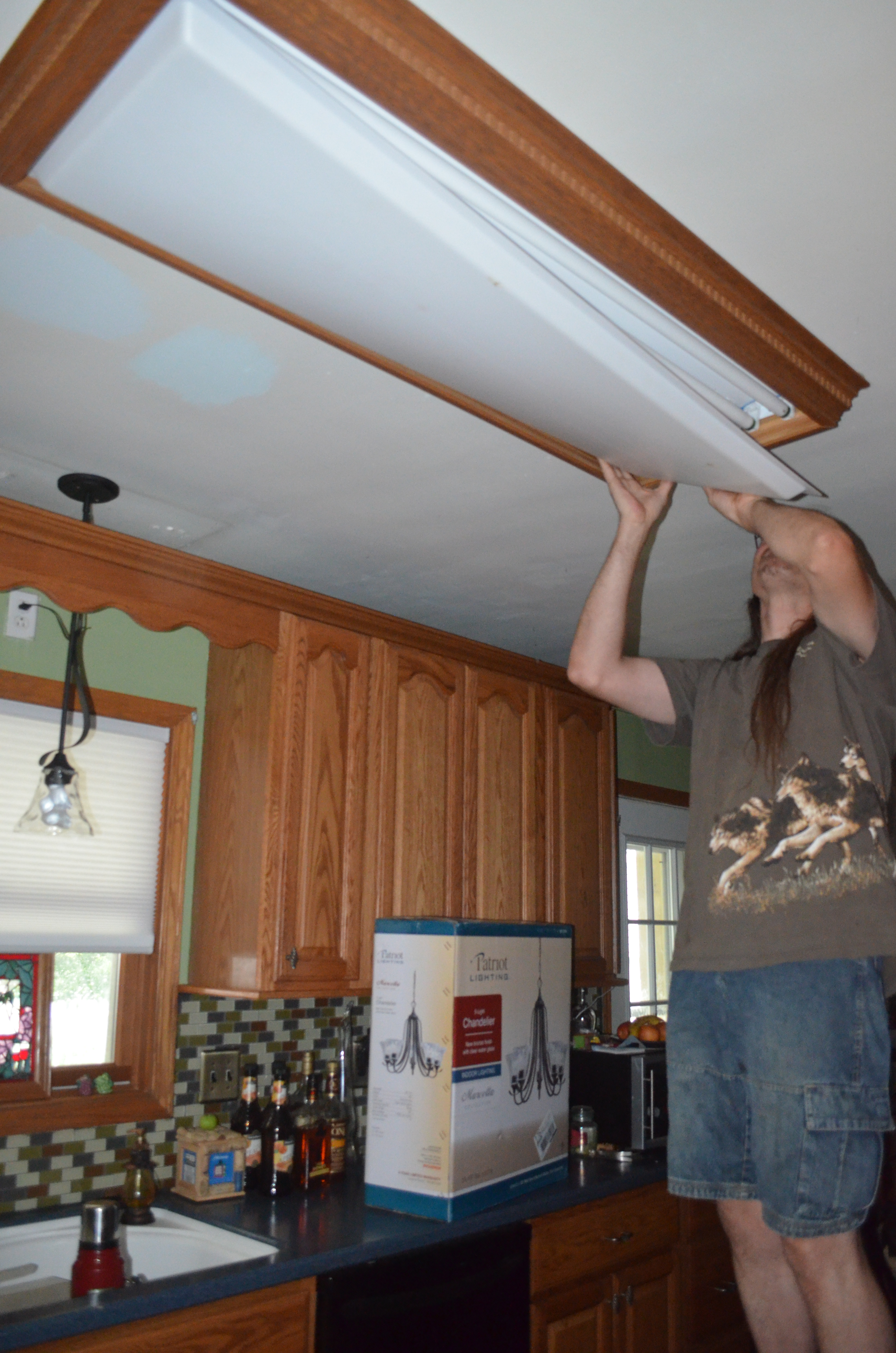 replacing the overhead florescent light in the kitchen kitchen light DSC