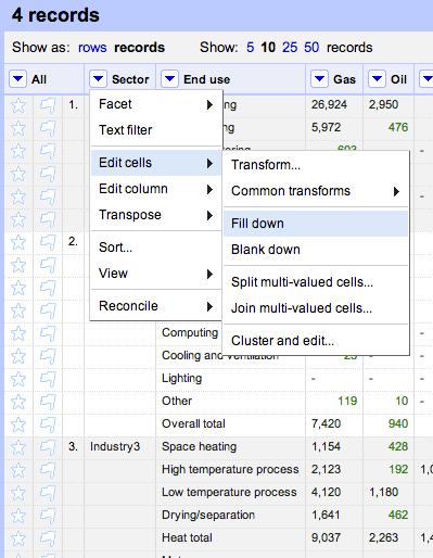 DECC data fill down
