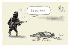 """He drew first,"" by David Pope"