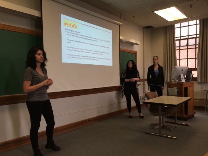 Elicia Gibson, Rachael Pottner and Carly Graman present their Tapping Trends pitch for Burt's Bees