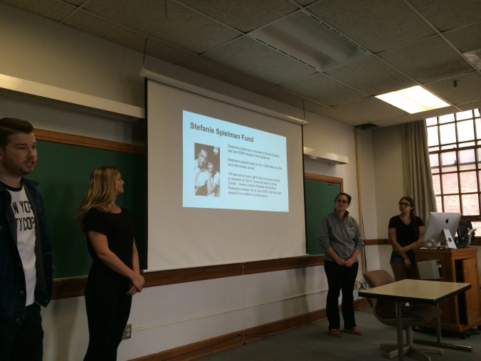 Nick Harley, Betsy Noll, Katie Trombetti and Ashley Thomas present their Trapping Trends pitch for the Stefanie Spielman Fund