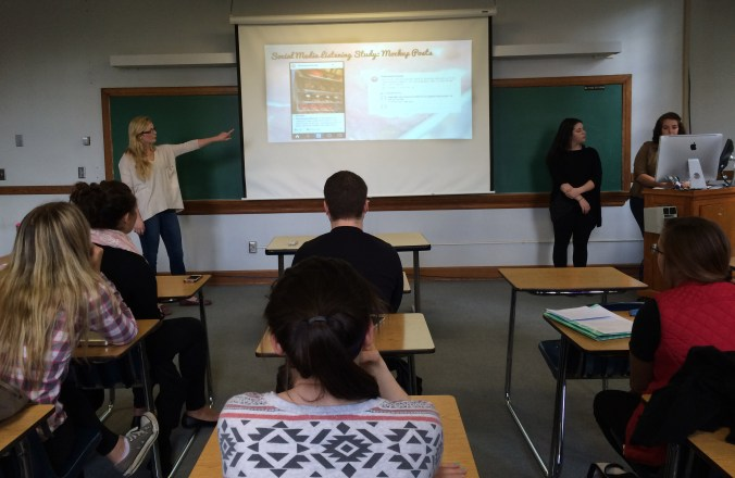 Allie W., Jenna F. & Kate K. present their final pitch for Destination Donuts