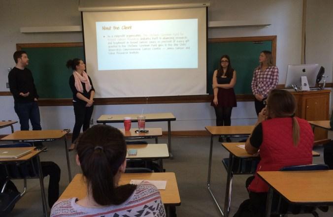 Nick H., Katie, T., Ashley T. & Betsy N.  present their final pitch for the Stefanie Spielman Fund.