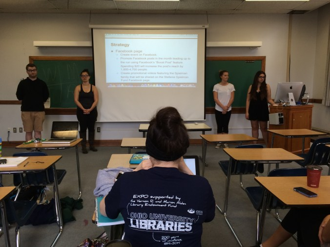 Nick H., Katie T., Betsy N. and Ashley T present their GhOST+E pitch for the Stefanie Spielman Fund