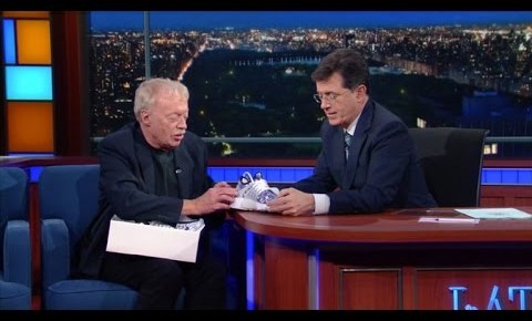 5/5/16 O&A NYC WITH WaleStylez FASHION: Phil Knight Presents Stephen Colbert With a Pair of Bespoke Nike Air Prestos