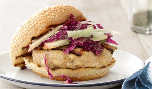 7/29/16 O&A NYC GRILLING FOR THE WEEKEND- SUMMER GRILLING RECIPES: Miso-Glazed Chicken Burgers with Cabbage-Apple Slaw