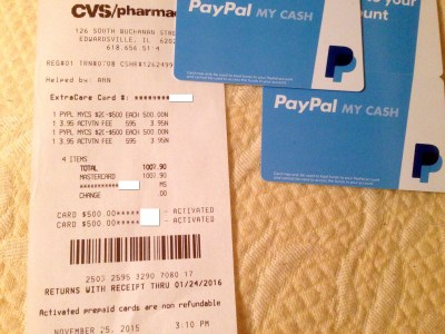 PayPal My Cash Cards With Credit Cards at CVS Still ...