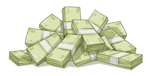 I make huge piles of fake cartoon money