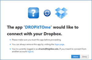 Autorisation dropbox