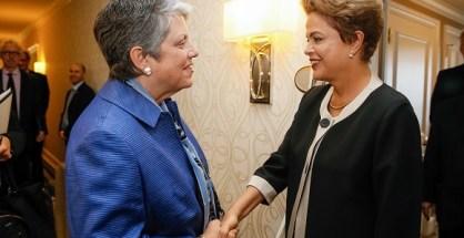 São Francisco - EUA, 01/07/2015. Presidenta Dilma Rousseff durante encontro com a senhora Janet Napolitano, presidemte da Universidade da Califórnia. Foto: Roberto Stuckert Filho/PR