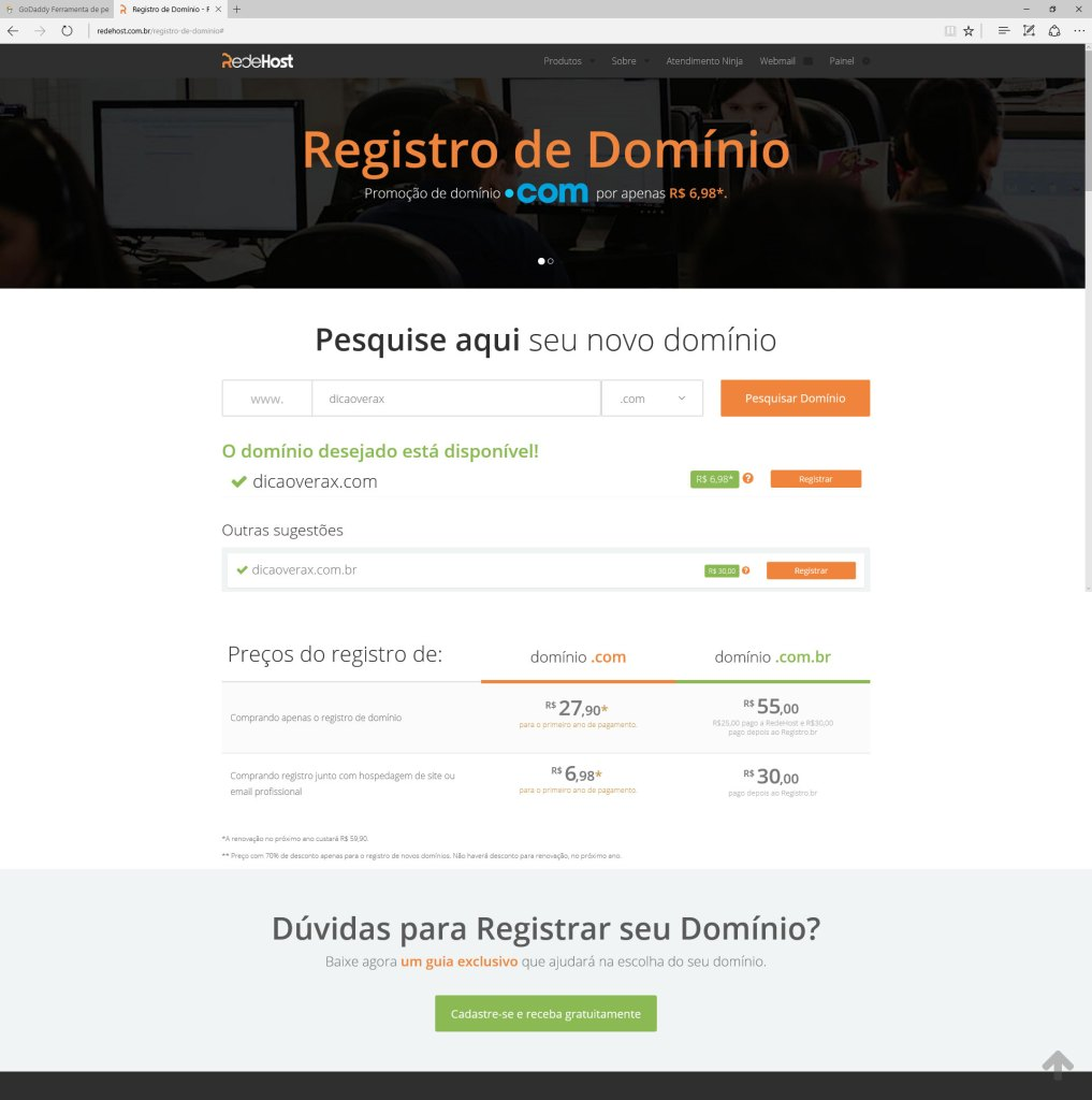 Valor do registro de domínio .COM na REDEHOST 27,90