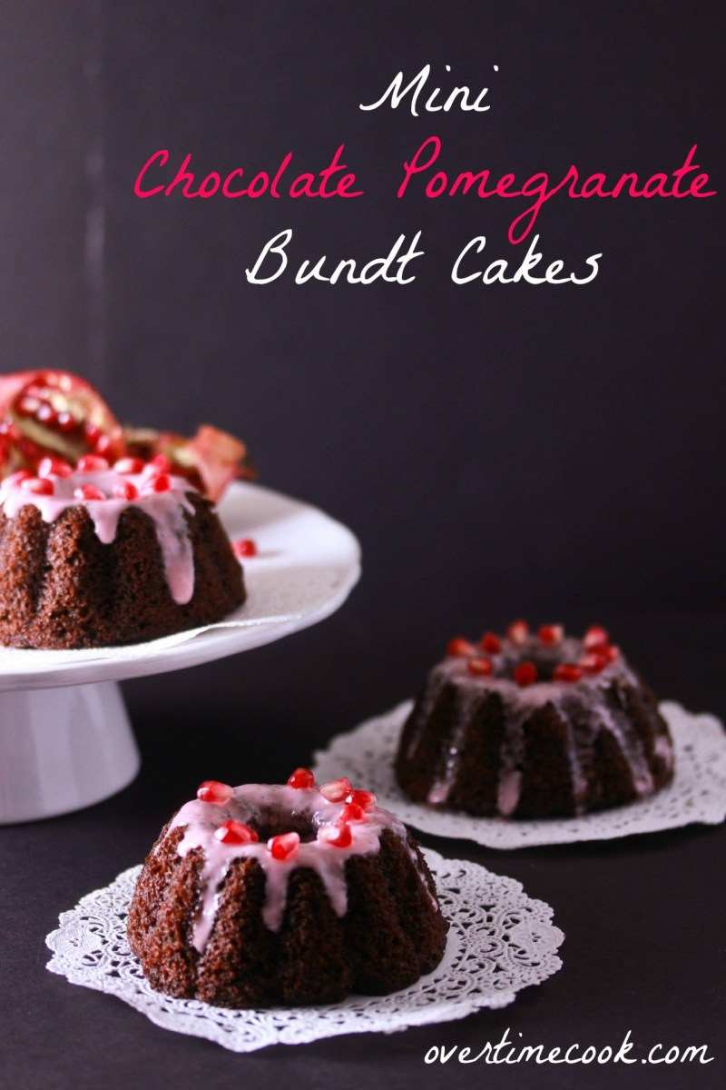 Mini Chocolate Pomegranate Bundt Cakes with Pomegranate Glaze