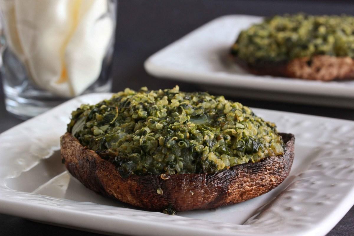 Quinoa and Spinach Stuffed Portobello Mushrooms