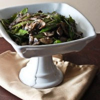 Sauteed Snow Peas and Mushrooms with Shallots and Red Wine