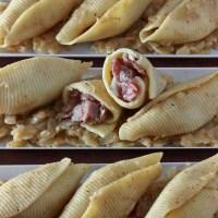 Pastrami Stuffed Shells with Honey Mustard Onion Sauce