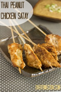 thai peanut chicken satay on overtimecook