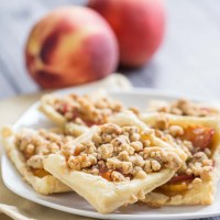 Mini Caramelized Peach Tarts with Pecan Crumble Topping